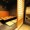 5~6名様に最適の掘りごたつ個室。仲の良い仲間とゆったり寛ぎながらお食事を楽しむのにぴったりのお席です