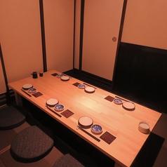 6名様用ゆったり寛げる人気の掘りごたつ個室。人数に応じて隣の個室と合わせて最大約20名様迄対応可。