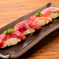 新鮮美味しい肉寿司の盛り合わせをご堪能くださいませ!