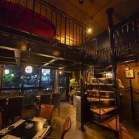 【メインフロア】店内の雰囲気も見渡せる丸テーブル席!