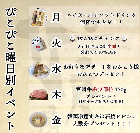 月〜金の平日ディナー限定クーポン【19時までの御来店予約】