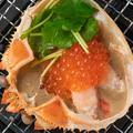 料理メニュー写真蟹とイクラの贅沢蟹甲羅焼き