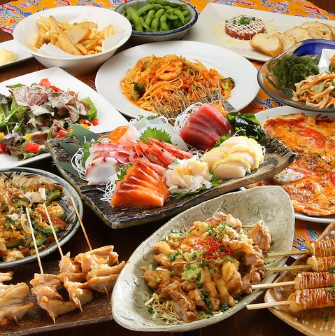 沖縄料理と居酒屋料理たっぷりの飲み放題付宴会コースご用意しております!
