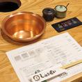 しゃぶしゃぶ、すき焼き、旨辛鍋は出汁まで手造りにこだわっているためどれも絶品です*!!*熱が均一に伝わる銅鍋で素材の味を引出します!