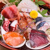 魚料理は【うおかみ】旬魚のお造り盛り合わせは1番人気