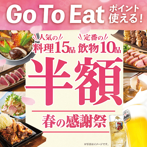 【春の感謝祭】人気の料理15品 ドリンク10品が半額♪