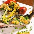 料理メニュー写真夏野菜と旬の魚の焼き合わせ 特製雲丹ソース