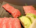 料理メニュー写真蔵元極み4種盛り(上カルビ・上ハラミ・上ロース・焼き野菜)
