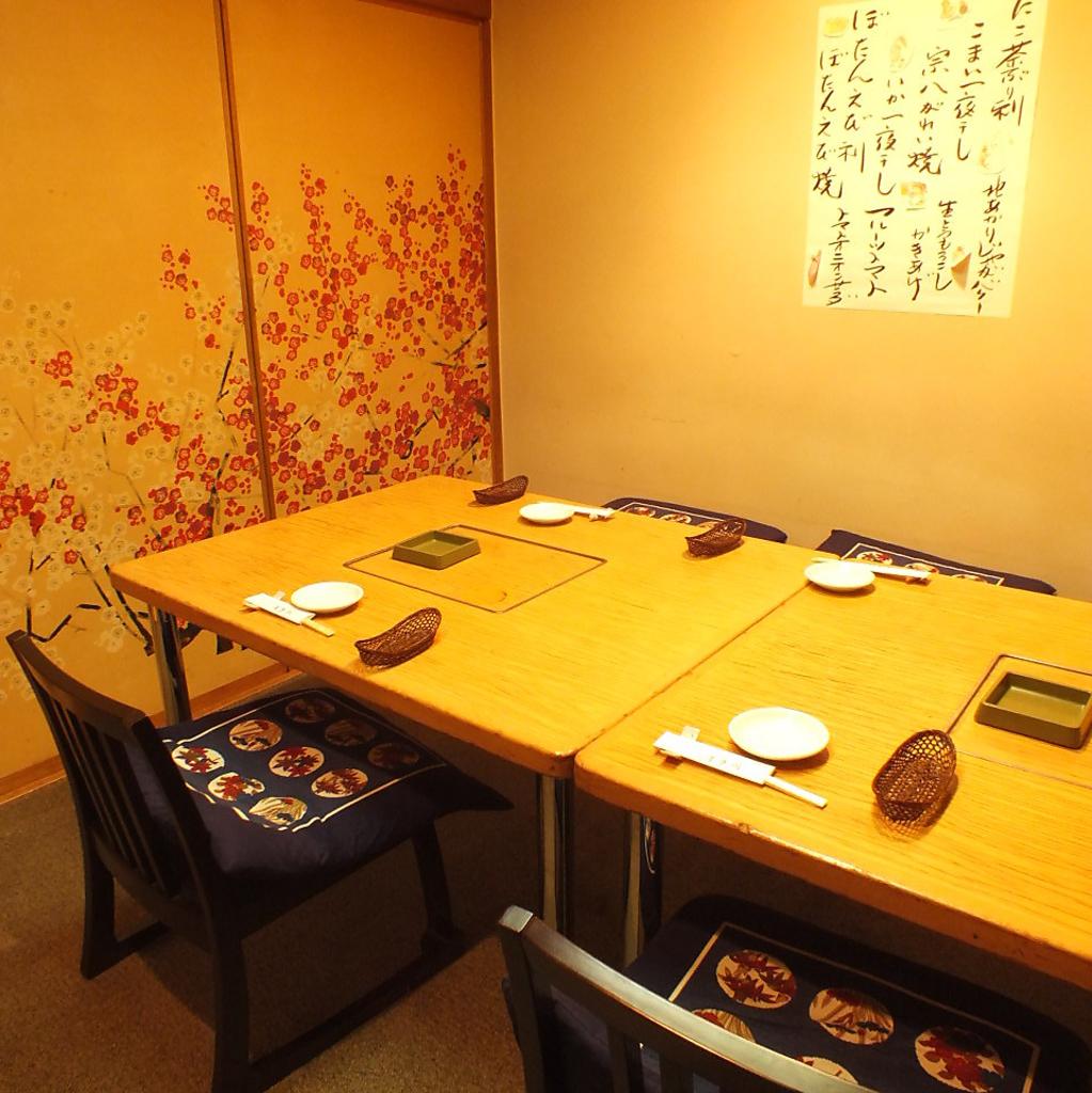 【竹桜の間】 3名~4名様用のお座敷テーブル個室。座敷椅子なので足を伸ばしてゆったり過ごせます