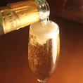 パーティーなどにおすすめ!こぼれ樽詰めスパークリングワイン♪注文されてからお客様の目の前でなみなみにこぼれるぐらいまで注ぐ当店の名物ドリンクです♪