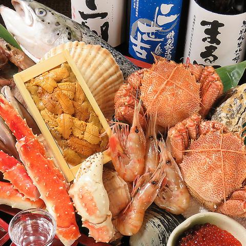 魚勢自慢の海鮮は鮮度抜群!旬の海鮮、鮮度に味に満足間違いなし!北海道の地酒も堪能