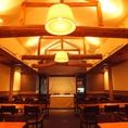 【2F】大個室(Party会場)は着席で最大50名様まで立食なら70名様までOK!しかも平日なら20名様以上での貸切も対応してくれる。