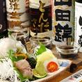 地酒3種飲み比べと淡路の天然魚のお造り盛り合わせセット:1980円(税抜)
