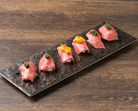 歓送迎会大歓迎♪ 贅沢なウニやキャビアを使った肉寿司に拘りの宮崎牛と豊富なワイン