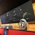 店内の大きな黒板にメニューの表示あります。【高崎ワインバール】