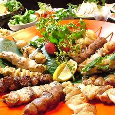 料理メニュー写真厳選した国産鶏の串焼き   もも・ももねぎ・皮・レバー・ぼんぢり・ハツその他多数。
