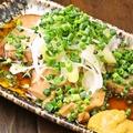 料理メニュー写真揚げ茄子おろしポン酢/自家製チャーシュー/自家製玉子焼き