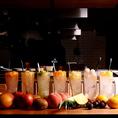 凍結フルーツが入ったひょーげもんサワー♪野菜巻き串とベストマッチ!!凍結フルーツがたっぷり入ったシャリシャリ冷え冷えの爽やかなオリジナルサワーです♪りんご・ライチ・パイン・キウイ・桃・マンゴーなどお好きなフルーツをお選びください!