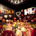 おしゃれな店内はお客様による飾りつけも自由に可能。大切な誕生日や記念日をぜひお楽しみください。