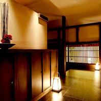 京の設え、落ち着いた雰囲気の店内