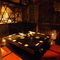 囲炉裏を囲んでゆっくりとお食事をお楽しみ頂けます♪みんなで輪になって飲み会ができるのは囲炉裏のお部屋ならでは♪