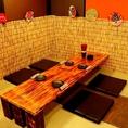 4名様がゆったり座れるお座敷になります。こちらのテーブルはなんと手作り!畳でゆっくりおくつろぎ下さい♪