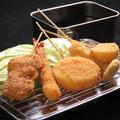 料理メニュー写真串揚げ5点盛り(豚バラ串・エリンギ・たまねぎ・やまいも・海老)