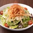 蒸し鶏を使った虹むらサラダ/温泉玉子のシーザーサラダ各650円(税抜)
