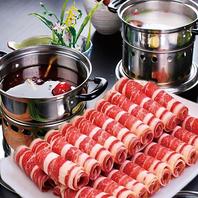 辛いスープと鶏白湯スープの二種類を楽しめる2色火鍋