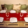 【ソファーシート★】クッション付きのソファーシートはテーブル・席共にゆったりと寛いで頂けるよう大きめにご用意!女子会や誕生日会・飲み会などにぴったり♪
