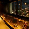 8名様のご宴会では広島駅の夜景をみんなで