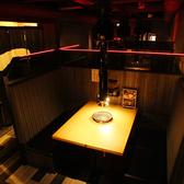 テーブル席のボックス半個室。4名から8名まで対応可能。