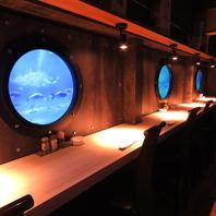 まるで「潜水艦」の中にいるような新感覚の店内♪