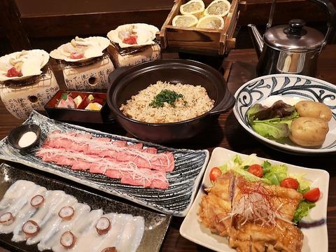 贅沢!当店名物付き厳選海鮮と牛リブアイステーキを味わう6000円コース(2時間飲み放題付)