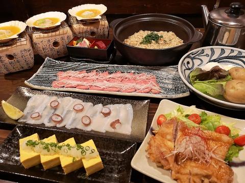 満足!当店名物付き!海鮮と牛リブアイステーキを味わう5000円コース!(2時間飲み放題付)