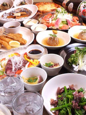 ご宴会に◎旬菜旬魚えんむすびお任せコース飲み放題付♪5000円(税込)