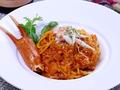 料理メニュー写真ズワイガニのトマトクリームパスタ
