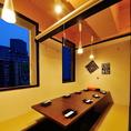仙台の街を眺めて…。夜景の見える個室席。