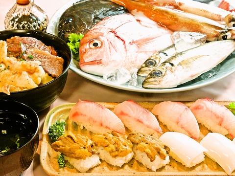 唐津の漁港から毎朝仕入れる魚介を提供。魚市場屋さんが作るにぎり寿司や新鮮な刺身。