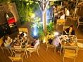 1Fテラス席:開放的な空間で七輪を囲んでバーベキュー気分をお楽しみいただけます。イベントやパーティーなどの大宴会に是非。