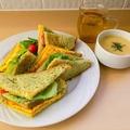 料理メニュー写真薬膳サンドイッチ(緑の漢方)