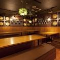 広々ビアホール席。最大100名様OK★開放的な空間はワイワイ楽しみたい時や、大人数様での宴会やパーティに♪活気あふれるビアホールでビールとお肉を食べ放題&飲み放題でお楽しみくださいませ。宴会最大100名様までご利用いただけますので、歓送迎会や忘新年会、各種パーティなどにご利用下さいませ。