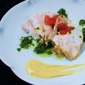 料理メニュー写真「庄内彩鶏」大むね肉の炭炙り~バジルソース~