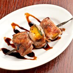 料理メニュー写真豚+カボチャ串 ~シナモン&バルサミコソース~