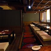 掘りごたつの宴会席はゆっくり食事を楽しめるようゆったりとした席配置になってます。ご宴会は最大48名様まで◎