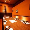 会社宴会・打ち上げなどの大人数宴会に人気のお席です。飲み放題付き宴会コースは3500円~。8名以上のコースご予約で1名無料に!