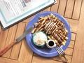 料理メニュー写真アイスクリームピーナッツバタージャムバーガー/ホームメイドパンケーキ/デザートフレンチフライ