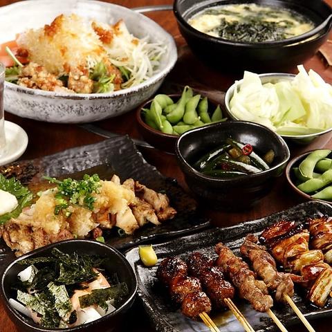 淡路産朝引き鶏を使用したこだわりの串焼き★焼き鳥に合う旬の野菜も豊富にご提供◎