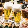 [豊富な飲み放題]プレミアムモルツも飲み放題♪ハイボール、サワー、酎ハイなどの定番はもちろん、梅酒やワイン、日本酒に焼酎など、どなた様の好みにも対応する豊富なドリンクをご用意しております。