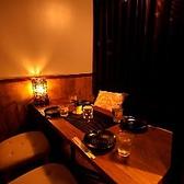 少人数の宴会にも対応可の半個室です。デート、女子会、合コンなどプライベートな飲み会にも最適。3000円~お愉しみいただけるコースは3時間飲み放題付きなので、ゆっくりとお過ごしいただけます。女性限定の女子会プランもございますので、仲間内での飲み会や友人との女子会の際にはぜひご来店ください。